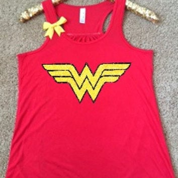 Wonder Woman Logo Shirt - Superhero Shirt - DC - Ruffles with Love - Glitter - Graphic Shirt