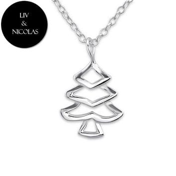 Solid 925 Sterling Silver Plain Pine Tree Necklaces