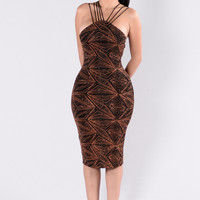 Glitter Sensation Dress - Black/Rust