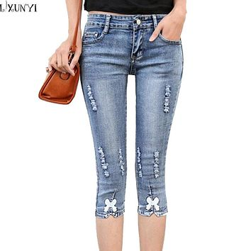 Summer Ripped jeans For Women Factory Plus Size jeans femme Elastic Slim Bow Hole Casual Denim Pants Skinny XL 2XL 3XL 4XL 5XL