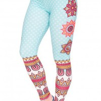 Mandala and White Dots Printing Leggings