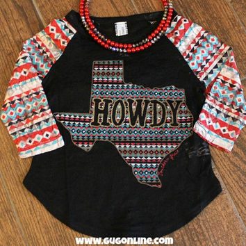 Kids Texas Howdy Baseball Burnout Tee with Aztec Lace Sleeves
