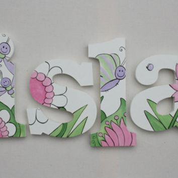 Hand Painted Garden Fun Themed Wooden Wall Name Letter Art / Hangings for Girls Rooms, Play Rooms and Nursery Rooms