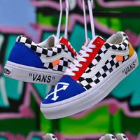 VANS x OFF-WHITE joint series trend men and women models wild canvas skate shoes
