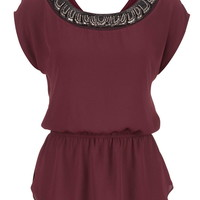 Chiffon Peplum Top With Embellished Neckline - Mulberry