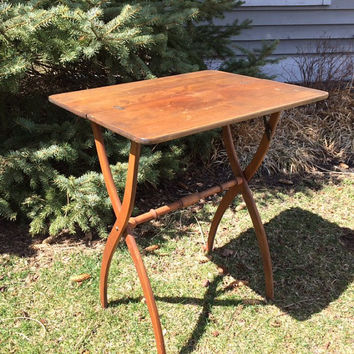 Vintage Wood Folding Table in Mid Century Modern Design