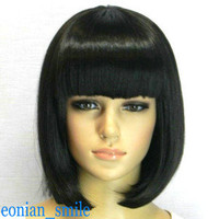 BOB style (5 colors) Straight Bang short Straight Wig wigs with wig cap