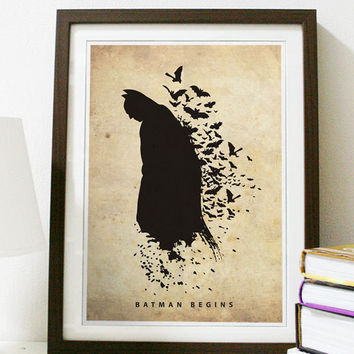 Batman Begins Poster A3 Print by Posterinspired on Etsy