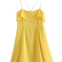 Yellow Ruffle Overlay Cross Backless Cami Dress
