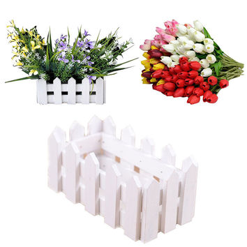 Wooden Flower Plant Fence Picket Storage Holder Garden Wedding Decor White U6721