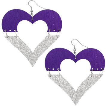 Purple Wooden Linked Heart Glitter Earrings