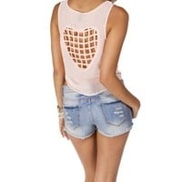 Peach Cage Heart Back Top