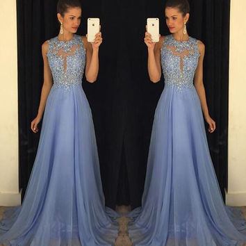 Flowing Chiffon A-line Evening Dresses 2017 Scoop Neck Open Back Applique Beaded Long Party Prom Gowns