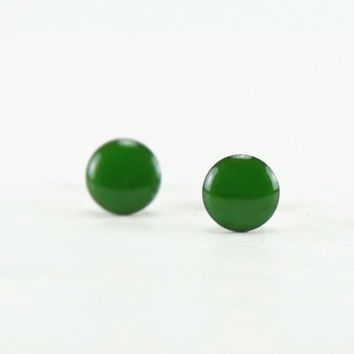 CLOVER GREEN Stud Earrings - Clover Green Earrings - Green Ear Studs - Green Earrings Stud - Surgical Steel Post Earrings - 4mm / 6mm / 8mm