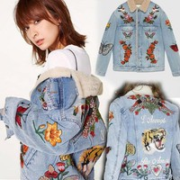 Autumn and winter star with denim jacket men and women embroidery tiger lamb coat jacket tide male jacket
