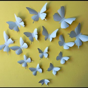 3D Wall Butterflies - 15 Soft Blue Butterfly Silhouettes, Nursery, Home Decor, Wedding