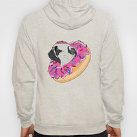 Pug Donut Strawberry Profile Hoody by lostanaw