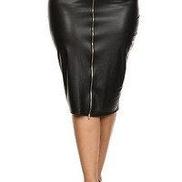Plus SIze Sexy Diva Faux Leather High Waisted Zip Up Front Pencil Skirt