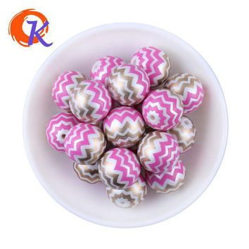 New Arrival 20mm 100pcs/lot Hot Pink Shinny Mix Color Acrylic Pearl Print Chevron Beads Chunky Necklace Children Jewelry Making