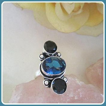 Transformation & Protection Tanzanite & Black Onyx Sterling Silver Ring