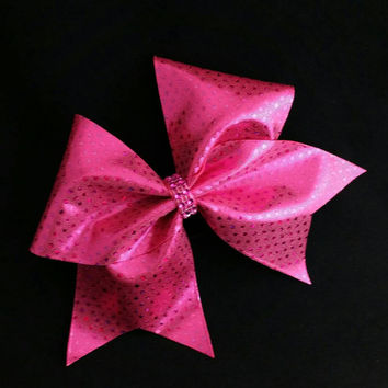 Cheer bow, Dark pink cheer bow, sequin cheer bow, cheerleading bow, cheerleader bow, cheerbow, softball bow, rec cheer bow, Cheerbow