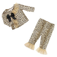 Babyrageous Girls 2 Piece Leopard Fashion Set with Ruffle and Bow Detailed Long Sleeve Top and Pant with Ruffle Accents