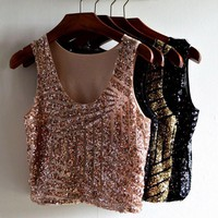 2017 Women's Sexy Nightclub Bling Camisole Clothing Mesh Splice Sleeveless Black Pink Gold Sequined Tank Crop Tank Top For Women