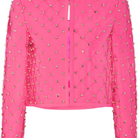 Moschino - Embellished quilted crepe jacket