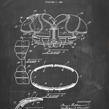 Football Shoulder Pads Patent Print - Patent Poster - Fooball Patent - Pigskin - Faux Vintage