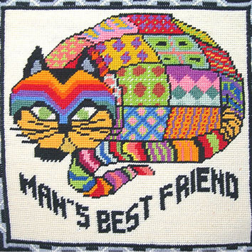 Needlepoint Grumpy Cat Wall Hanging Picture - Colorful Patchwork Design - Man's Best Friend - 16x15x2 Black Wood Silver Trim Frame - 1973