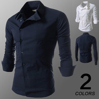 Asymmetric Button Long Sleeve Dress Shirt