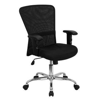 Offex Mid-Back Black Mesh Contemporary Computer Chair with Adjustable Arms an...