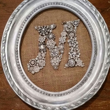 Upcycled Rhinestone Brooch Initial, Antiqued Frame, Wedding, Shabby Chic, Rustic
