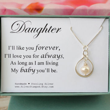 Daughter gift sterling silver Infinity necklace with freshwater pearl I'll love you forever gift from mom dad parents