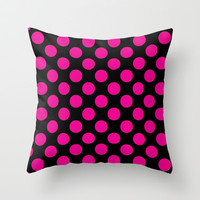 Pink Polka Dots on Black Throw Pillow by EML - CircusValley