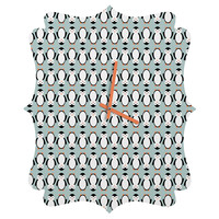 Allyson Johnson Penguin Pattern Quatrefoil Clock