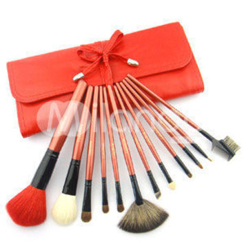 Red Leather Brush Case With 12 Piece Makeup Cosmetic Brushes -  Milanoo.com