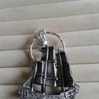 Pirates of the Caribbean  silver metal ship  keychain keyring