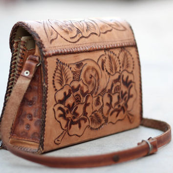Authentic Leather Mexican Hippie Southwestern Floral Purse - Flora