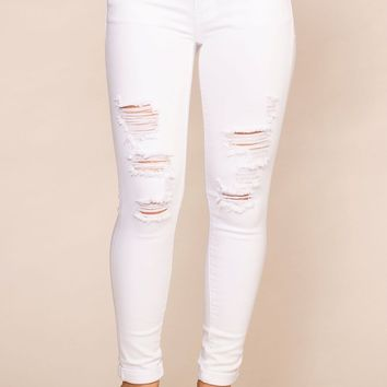 Camden White Distressed Skinny Jeans