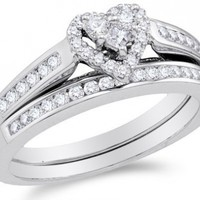 10k White Gold Diamond Ladies Bridal Engagement Ring with Matching Wedding Band Two 2 Ring Set - Halo Heart Shape Center Setting w/ Channel Set Princess Cut & Round Diamonds - (.50 Cttw)