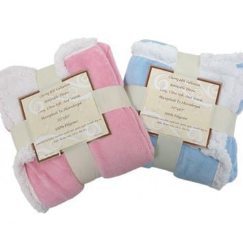 "30""x 40""- Reversible Sherpa/ Microplush Throw Baby Blanket - Multiple Colors"