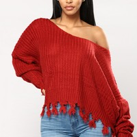 Clayton Long Sleeve Sweater - Burgundy