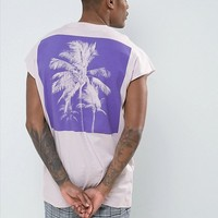 ASOS Oversized Sleeveless T-Shirt With Palm Back Print at asos.com