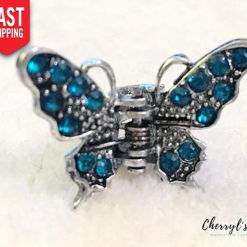 Rhinestone Accented Small Butterfly Hair Clip