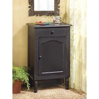 Antique Black Wood Single Drawer Storage Cabinet