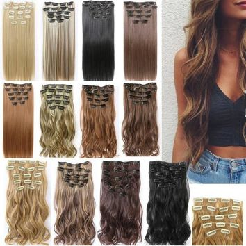 16/24Inch Synthetic Fiber Hairpiece Clips in on Hair Extension 1 Piece 5 /16Clips Curly Wavy Hairpieces Wigs 18 Stytle