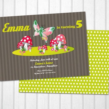 Butterfly birthday invitations printable fairy tale mushrooms