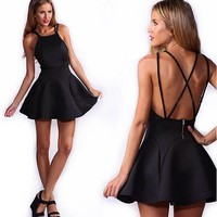 Moxeay® Back Straps Cross Sexy stretch Swing Skater Dress