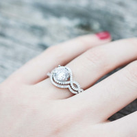 Infinity Halo Engagement Ring - Round Brilliant Ring - Halo Wedding Ring Set - Round Cut Halo Ring - Sterling Silver Ring